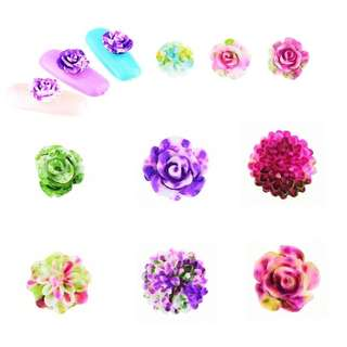 1 Round Wheel 24 pcs Flowers Nail Art Decor Mixed Color 3D Resin Roses Acrylic Artificial Flowers Manicure Studs Nail Art Tools