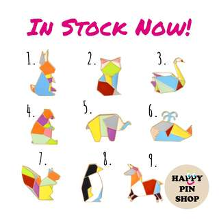 [IN STOCK] Origami Animals Enamel Pins (Geometric shapes)