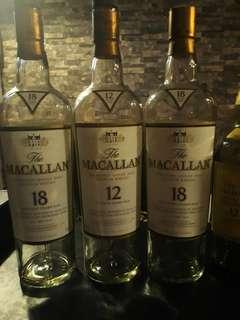 Empty Macallan Liquor Bottles 3 for $10
