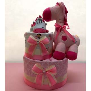 2 tier pink giraffe diaper cake