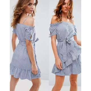 Off Stripes Ruffle Dress