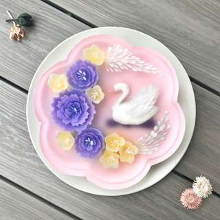 3D flower and swan jelly cake
