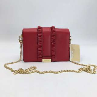 Michael Kors Jade Ruffled leather clutch / crossbody bag - red