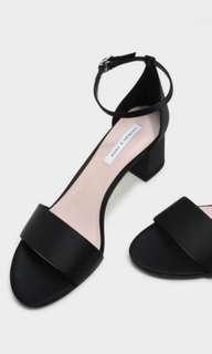 🚚 CHARLES&KEITH 黑色緞面高跟涼鞋