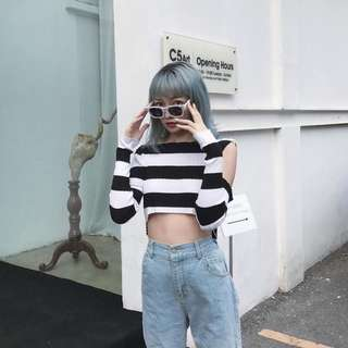 [PO] Kendall Jenner Inspired Ripped Striped Crop Top
