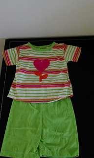 兩歲女嬰棉上衣+褲子