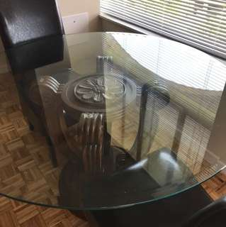 Glass table and 2 chairs
