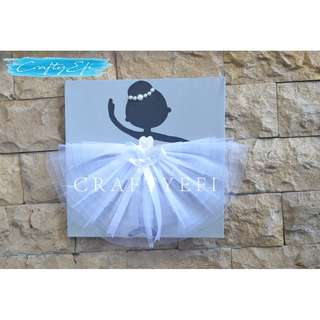 Lukisan Siluet Ballerina 3D (1 Pcs) 30X30 Cm GREY