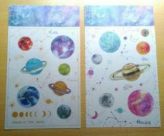 🚚 星星 宇宙 星球 行星 特殊油墨 和紙貼紙