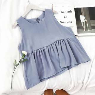 Dusty Blue Babydoll Dress