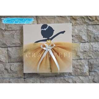 Lukisan Siluet Ballerina 3D (1 Pcs) 30X30 Cm CREAM