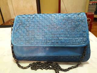 Cobra Genuine Leather Woven Stiched Blue Sling Bag