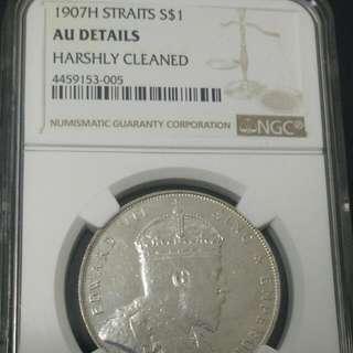 1907H Straits $1 Dollar King Edward Vll