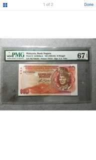 RM10 Malaysia Banknote 5th Series Aziz Taha Sign Serial Num : PK7768283 PMG67EPQ