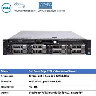 Dell PowerEdge R520 Server 2x E5-2430 #2.2GHz Six-Core 16GB DDR3 NO HDD PERC H710 iDRAC7 Enterprise Support to 8x 3.5'' HDD 30 days Warranty 7 DAYS MONEY BACK GUARANTEE
