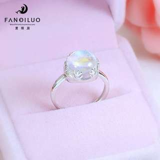 S925 Silver Trendy Moonstone Open-End Ring