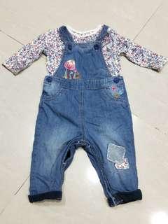 Mother care 丹寧吊帶褲套裝(3-6個月)