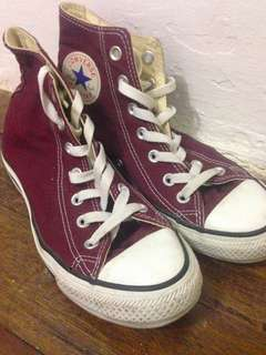 Authentic Maroon High Cut Converse