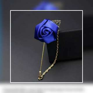 Polyester Flower Lapel Pin With Chain