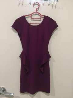 Zara Maroon bodycon evening Dress (S size)