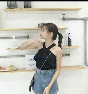 2018 Korea Ladies Style Cross  Shoulder Short Sleeve T Shirt