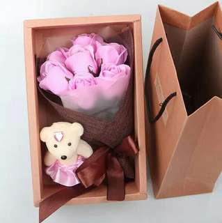 ready stock  soap flower with gift box