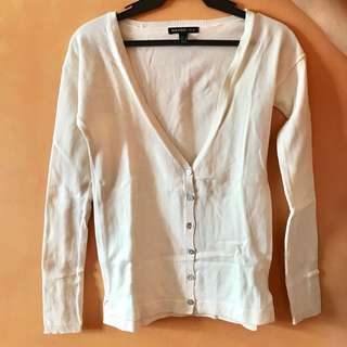 Mango White Cardigan fits XS to S excellent condition