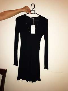 Black long sleeve dress with tie in the front