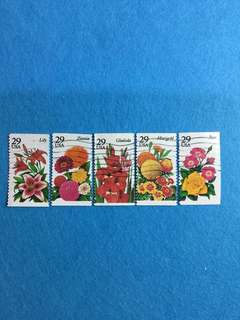 1994 USA Summer Garden Flowers Issue 5V Complete Set Used