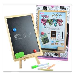 Woody Black Chalkboard/ White Markboard / Drawing Magnetic Board - 2 Sided board with Stand