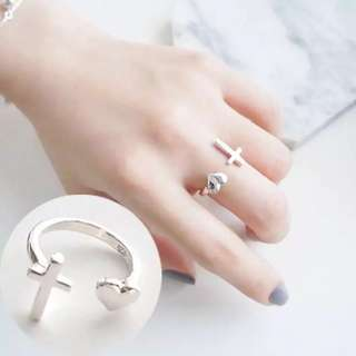 925 silver Heart and Cross ring