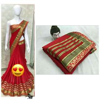 Chilli Red Chiffon Saree
