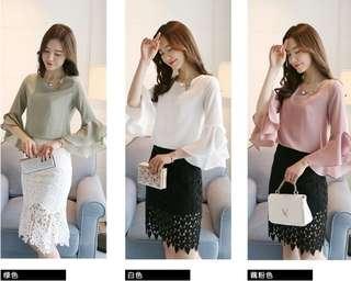 #省錢團購服飾  76025 #新款寬鬆雪纺衫  颜色分:浪漫粉 綠色 白色  尺码:S M L XL 2XL