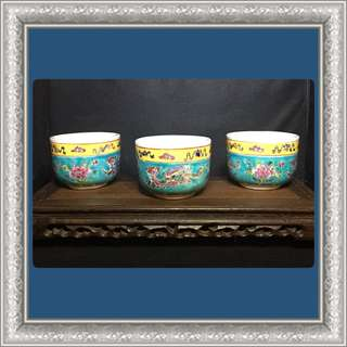 Vintage Peranakan Thick Teacups (Turquoise)