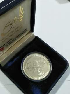 $5 silver proof coin 1947-1997 sg airlines 50th anniversary