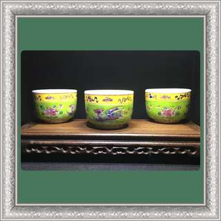 Vintage Peranakan Thick Teacups (Green)