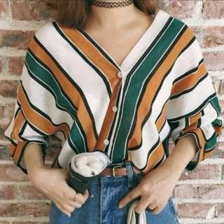 [INSTOCKS] Colourblock Stripes V Shirt