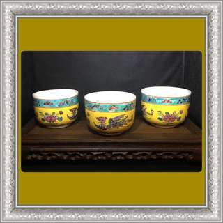 Vintage Peranakan Thick Teacups (Yellow)