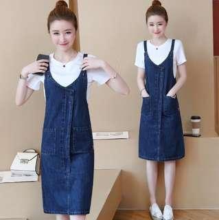 #省錢團購服飾  74532 #新款中長款兩件套背帶牛仔裙  尺码:S M L XL  颜色:白色T+背帶裙