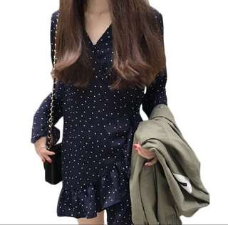 Deep V Polka Dots Navy Blue Dress with Long Flowy Sleeves