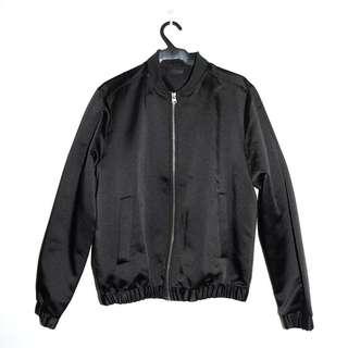 H&M Black Satin Bomber Jacket