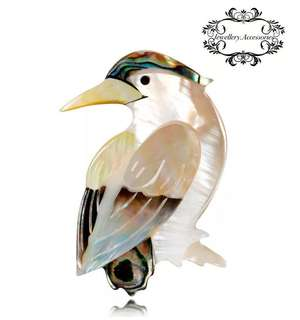 Genuine Natural Abalone Seashell Mother of Pearl Bird Silver Plated Brooch Pin  天然真鮑魚貝殼貝母雀鳥雀仔小鳥胸針 襟針 別針 心口針