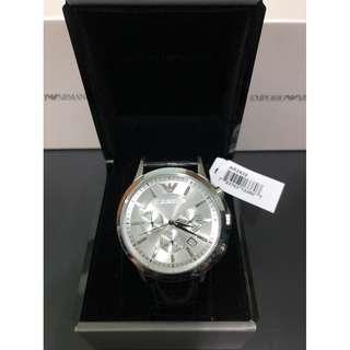 【負法律責任】Emporio Armani AR2432三眼計時真牛皮碗錶 男錶女錶 基隆大錶哥
