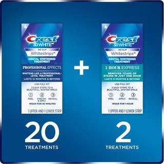 [IN-STOCK] Crest 3D White Professional Effects Whitestrips Whitening Strips Kit, 22 Treatments, 20 Professional Effects + 2 1 Hour Express Whitestrips