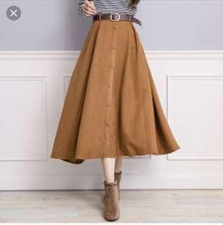 🚚 氣質款-傘狀裙(駝色)