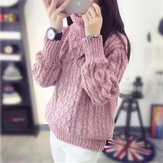 🚚 乾燥玫瑰粉厚針織毛衣