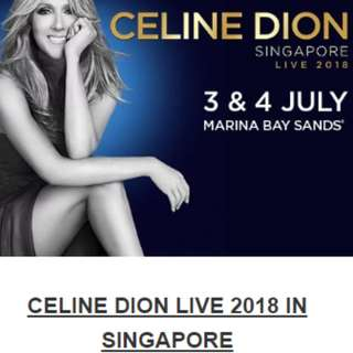 4x A RESERVE CELINE DION SINGAPORE CONCERT 3RD JULY 2018