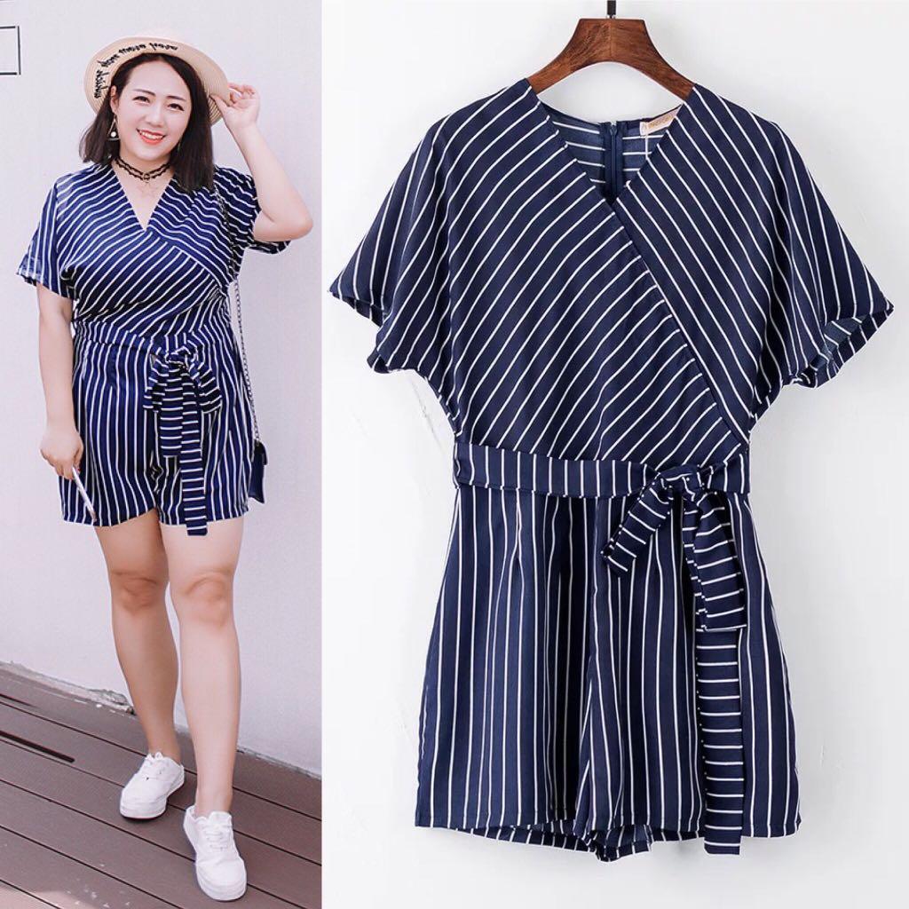 4461be3df0b82 2XL~5XL) 2018 Summer Korean Striped Dress Loose Casual Siamese Skirt ...