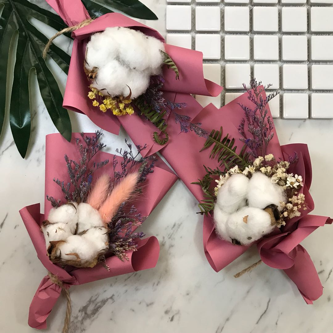 [花好玥圓]迷你花束 棉花花束 乾燥花束 閨蜜禮物 情人節禮物 拍照小物 拍照背景 拍照道具