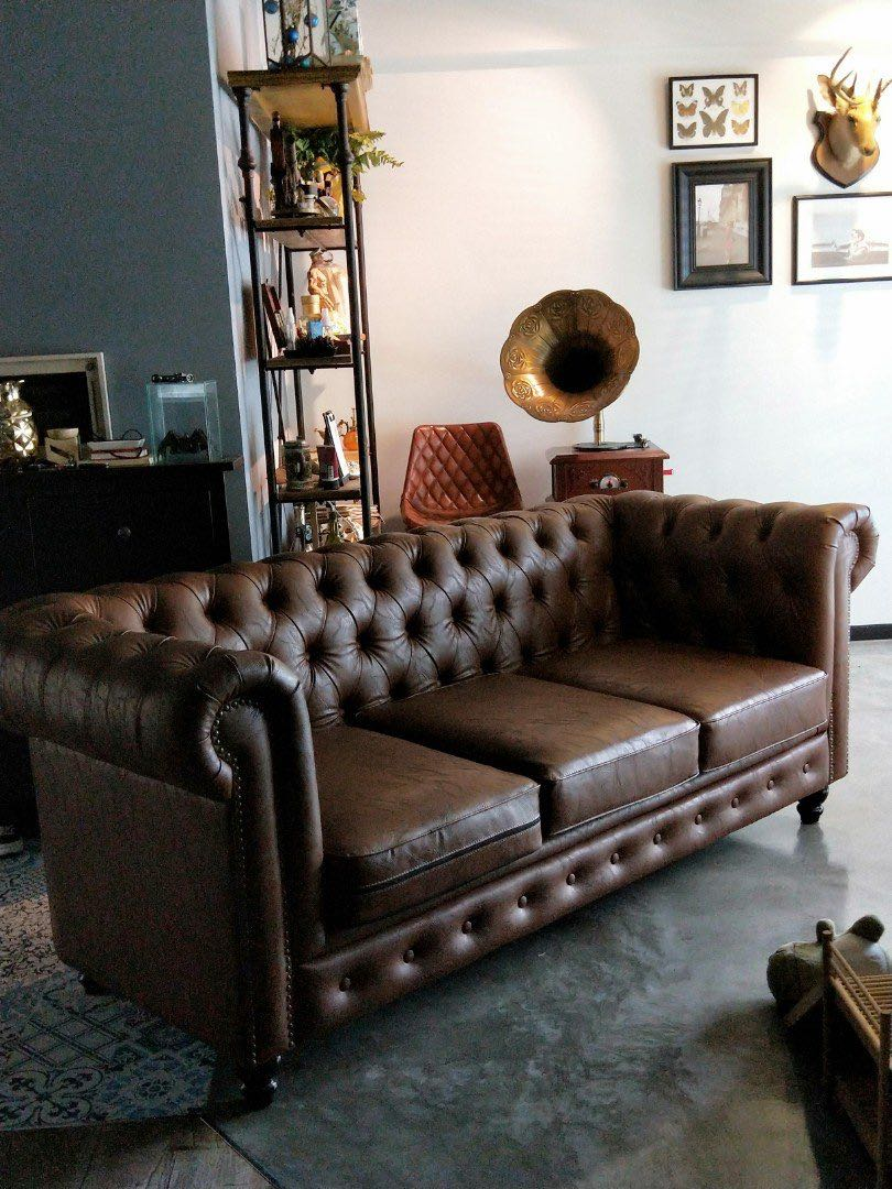 Camel Color Leather Chesterfield Sofa Furniture Sofas On Carousell